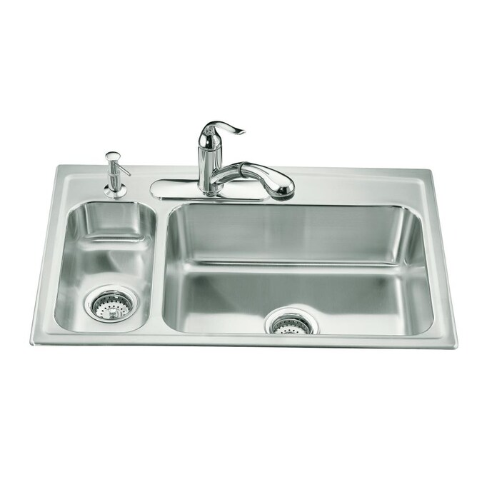 Kohler Toccata Drop In 33 In X 22 In Stainless Steel Double Offset Bowl 3 Hole Kitchen Sink In The Kitchen Sinks Department At Lowes Com