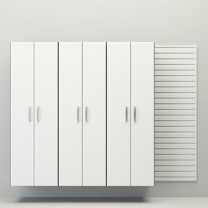 Flow Wall 3pc Tall Cabinet Storage Set, White Wood Garage Storage Cabinets