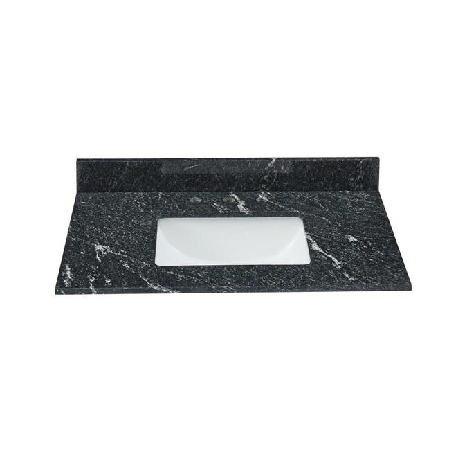 Bestview 37 In Thunder Black Granite Single Sink Bathroom Vanity Top In The Bathroom Vanity Tops Department At Lowes Com