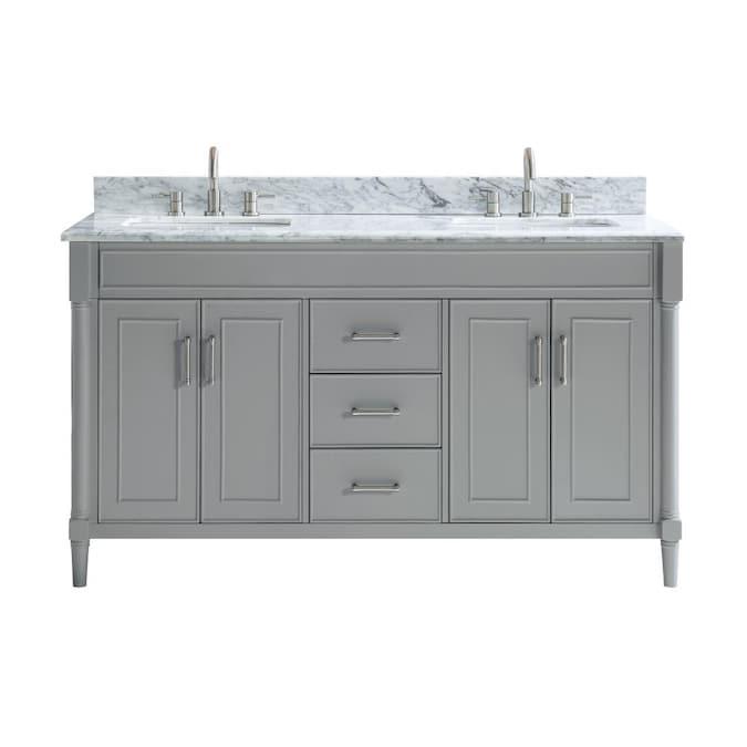 Allen Roth Perrella 61 In Light Gray, 56 Bathroom Vanity Double Sink