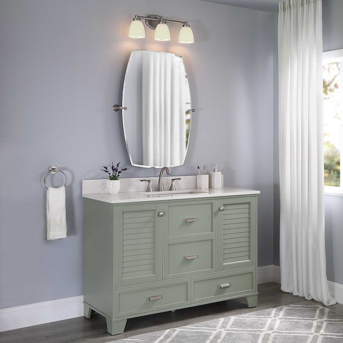 Allen Roth Leeland 48 In Sea Green, Green Bathroom Cabinet