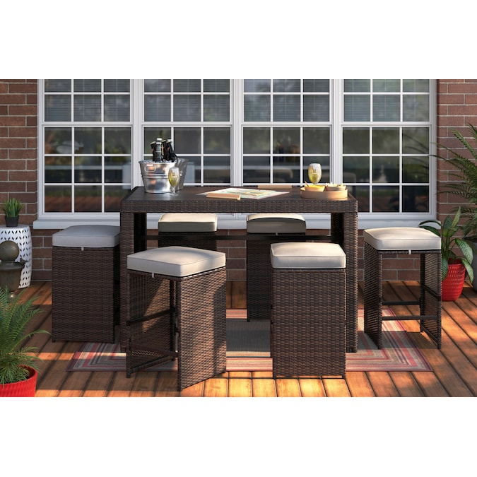 Style Selections Weatherford 7 Piece, Outdoor Patio Furniture Bar Height Dining Set