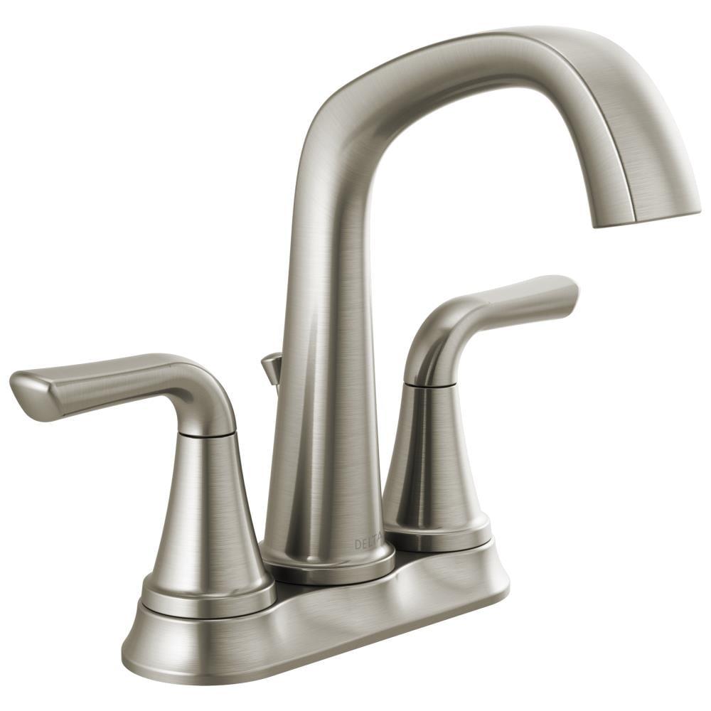Delta Larkin Spotshield Stainless 2 Handle 4 In Centerset Watersense Bathroom Sink Faucet With Drain In The Bathroom Sink Faucets Department At Lowes Com