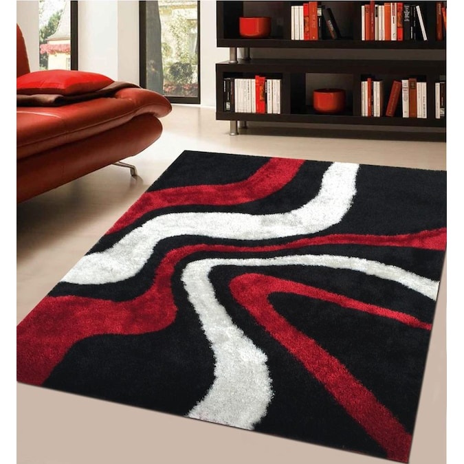 Black Red White Indoor Solid Area Rug, White Living Room Rug