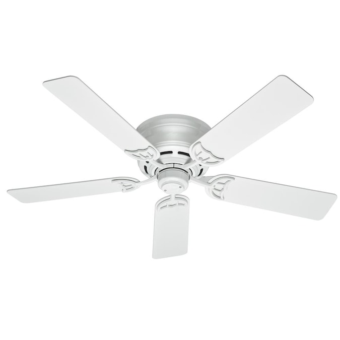 Hunter Low Profile Iii 52 In White Indoor Flush Mount Ceiling Fan 5 Blade In The Ceiling Fans Department At Lowes Com
