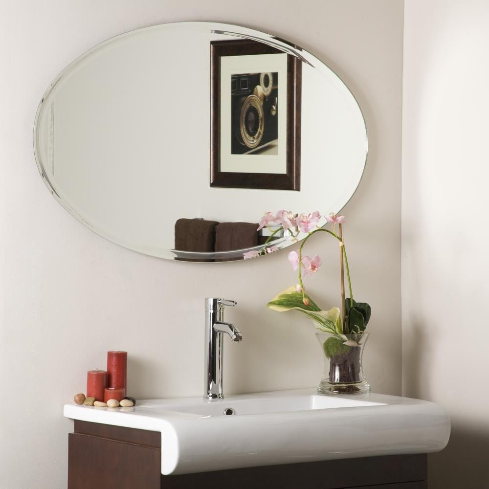Decor Wonderland 39 4 In Oval Frameless Bathroom Mirror In The Bathroom Mirrors Department At Lowes Com