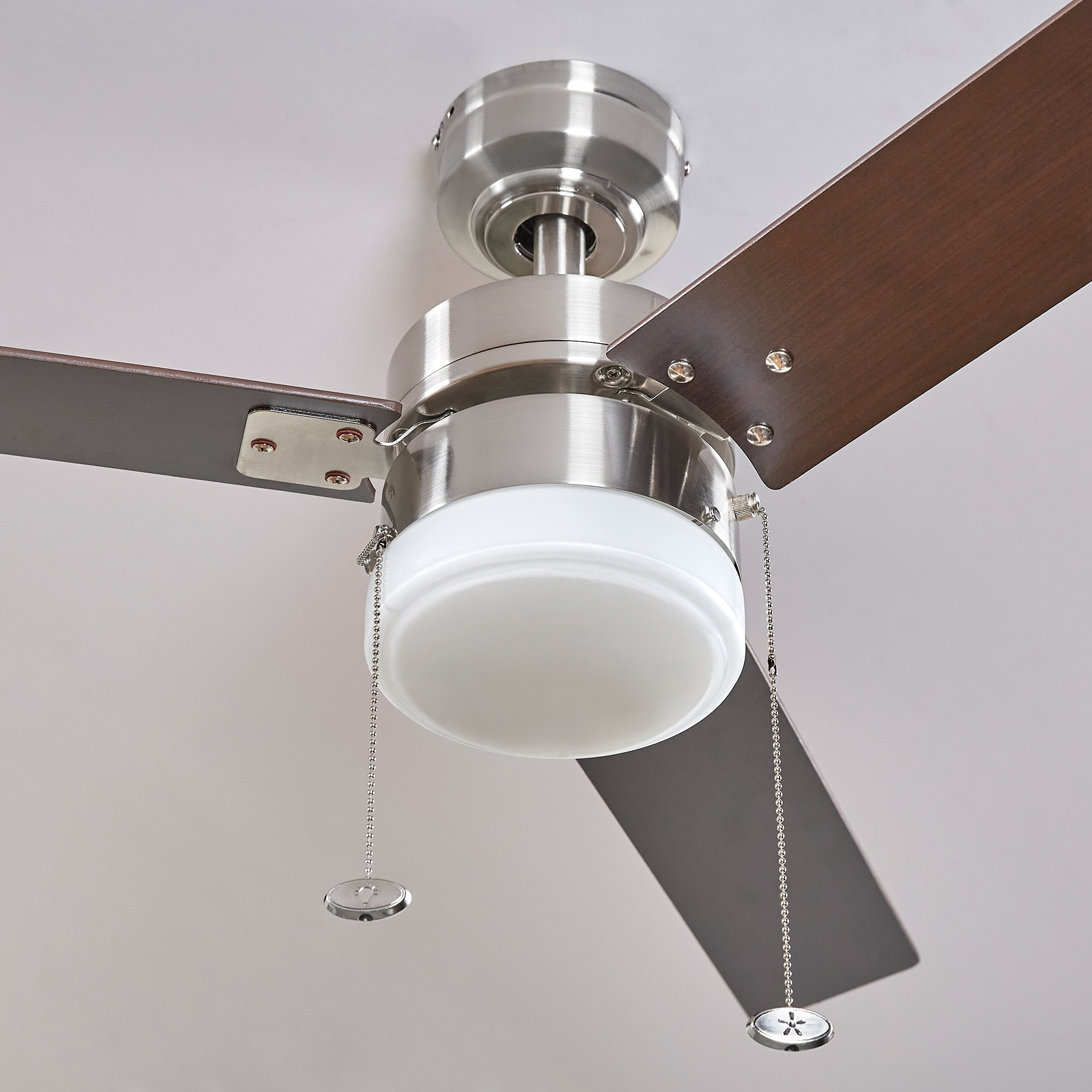 Harbor Breeze Vue 44 In Nickel Led Ceiling Fan 3 Blade In The Ceiling Fans Department At Lowes Com