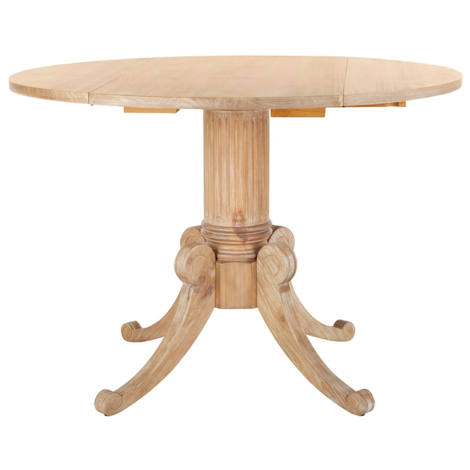 Safavieh Forest Rustic Natural Round, Round Pedestal Dining Table With Leaves