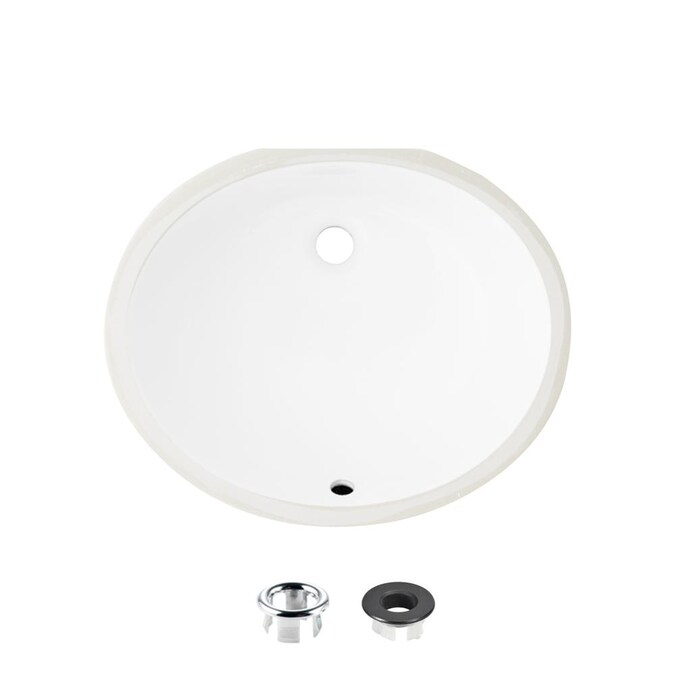 Stylish Porcelain Sinks White Porcelain Undermount Oval Bathroom Sink With Overflow Drain Drain Included 16 In X 19 5 In In The Bathroom Sinks Department At Lowes Com