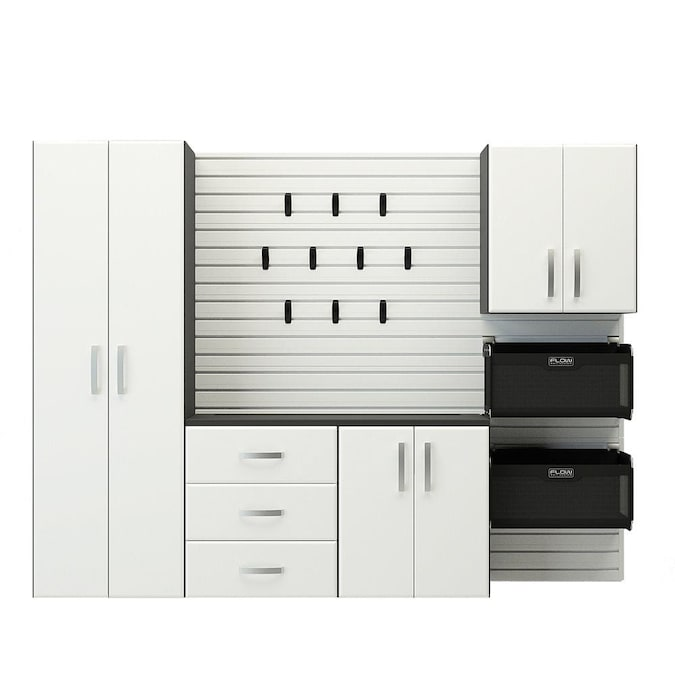 Flow Wall 5pc Complete Storage Cabinet, White Wood Garage Storage Cabinets