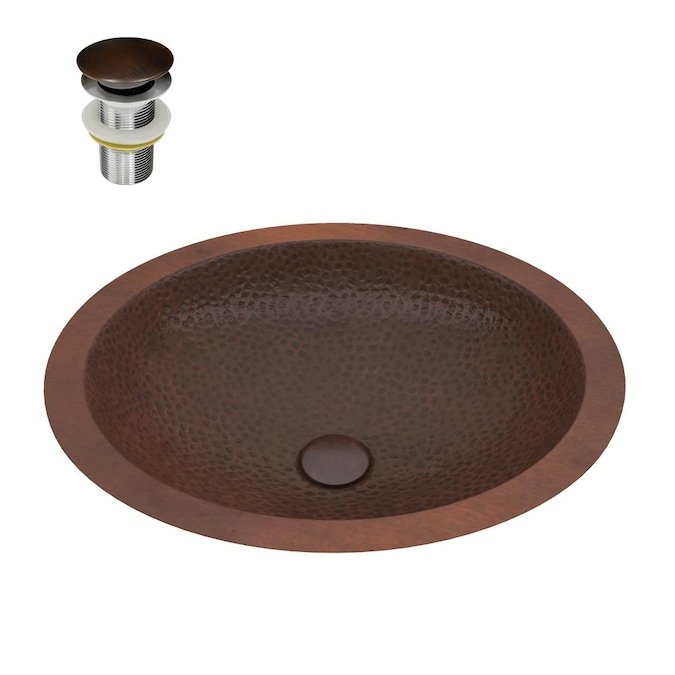 Anzzi Nepal Hammered Antique Copper, Oval Copper Bathroom Sink