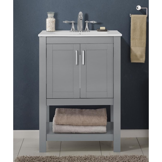 Saint Birch 24 In Gray Single Sink Bathroom Vanity With White Ceramic Top In The Bathroom Vanities With Tops Department At Lowes Com