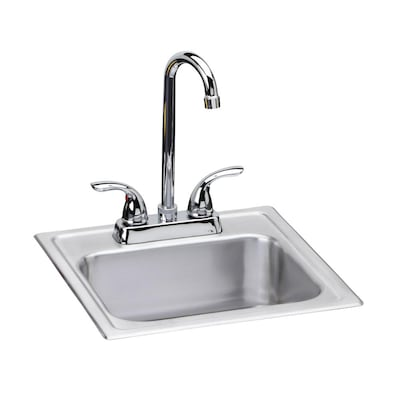 Dayton Drop In 15 In X 15 In Satin Single Bowl 2 Hole Kitchen Sink All In One Kit In The Kitchen Sinks Department At Lowes Com