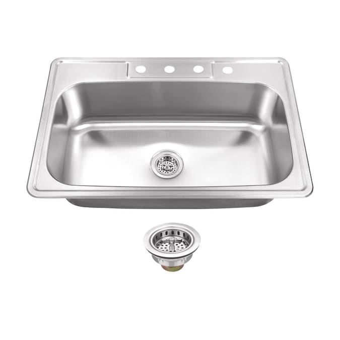 Superior Sinks Drop In 33 In X 22 In Brushed Satin Single Bowl 4 Hole Kitchen Sink In The Kitchen Sinks Department At Lowes Com