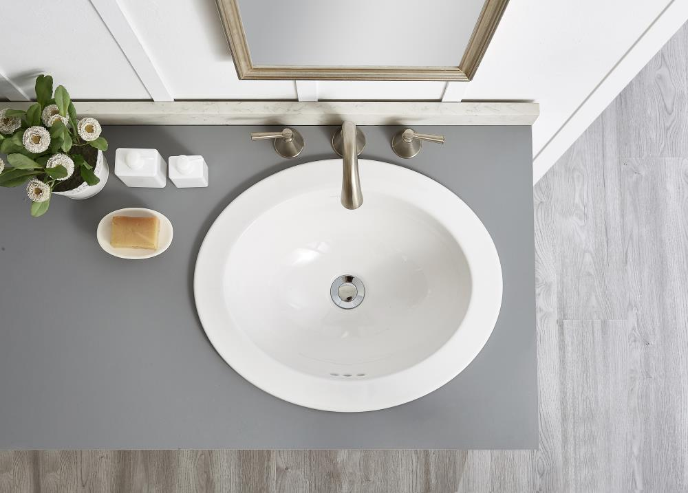 Allen Roth White Drop In Oval Bathroom Sink With Overflow Drain 20 In X 16 5 In In The Bathroom Sinks Department At Lowes Com