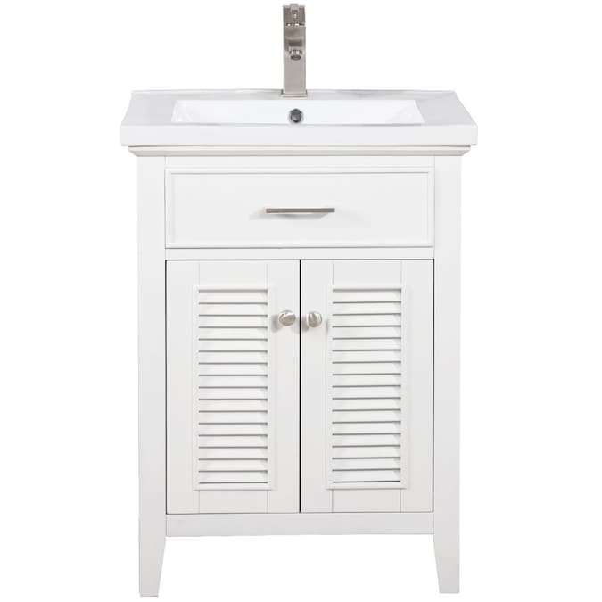Design Element Cameron 24 In White Single Sink Bathroom Vanity With White Porcelain Top In The Bathroom Vanities With Tops Department At Lowes Com