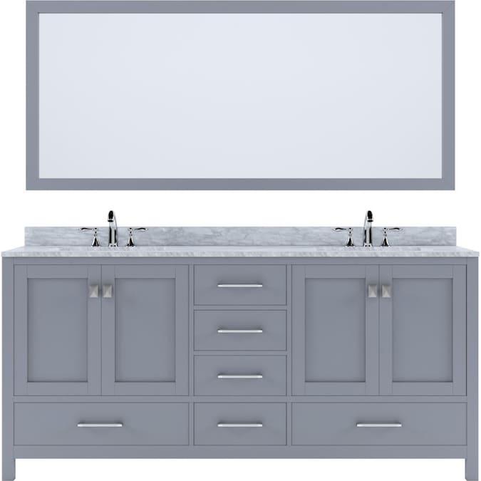 Virtu Usa Ine Avenue 72 In Gray, Bathroom Cabinets Double Sink