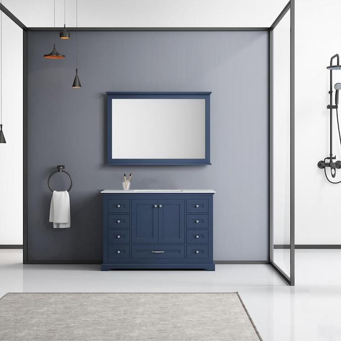 Navy Blue Single Sink Bathroom Vanity, What Size Mirror Goes With A 48 Vanity