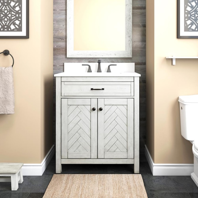 Allen Roth Chevron 30 In White Undermount Single Sink Bathroom Vanity With White Engineered Stone Top In The Bathroom Vanities With Tops Department At Lowes Com