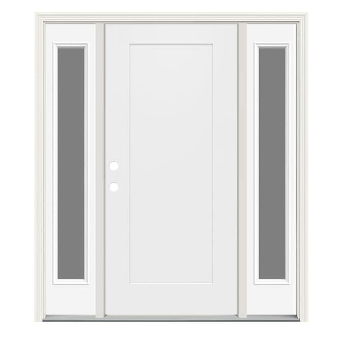 Jeld Wen 60 In X 80 Steel Right Hand Inswing Modern White Painted Prehung Single Front Door With Sidelights Brickmould The Doors Department At Lowes