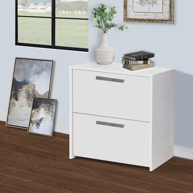 2 Drawer Lateral File Cabinet, White Wood File Cabinet