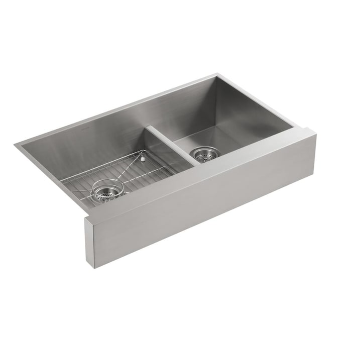 Kohler Vault Farmhouse Apron Front 35 5 In X 21 25 In Stainless Steel Double Offset Bowl Kitchen Sink In The Kitchen Sinks Department At Lowes Com