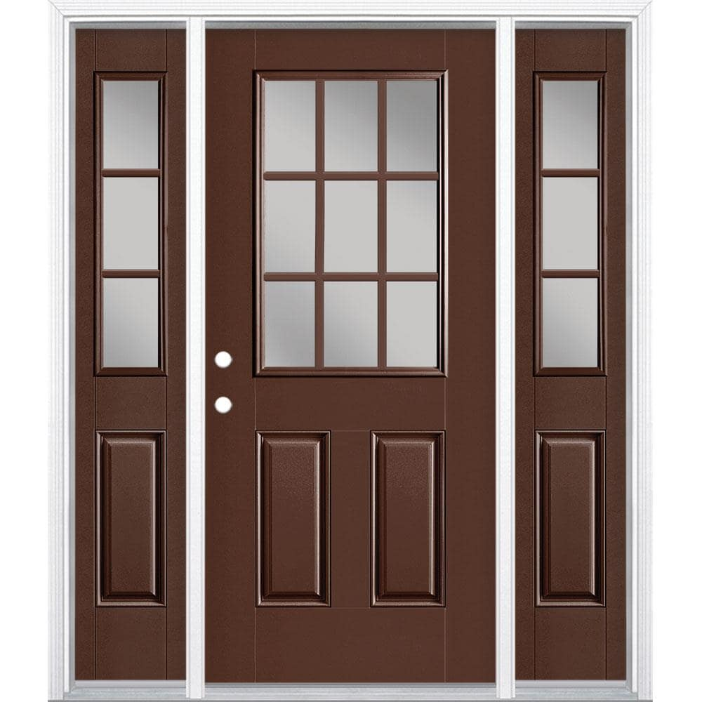 Masonite 60 In X 80 Fibergl Half Lite Right Hand Inswing Chocolate Painted Prehung Single Front Door With Sidelights And Transom Brickmould The Doors Department At Lowes