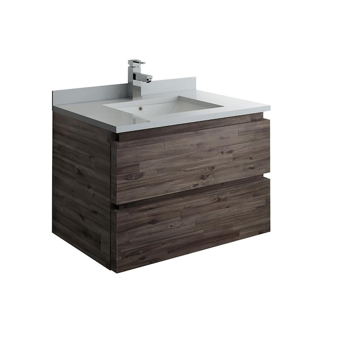 Fresca Formosa 30 In Acacia Wood Undermount Single Sink Bathroom Vanity With White Quartz Top In The Bathroom Vanities With Tops Department At Lowes Com