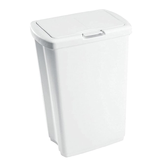 Rubbermaid 13 Gallon White Plastic, Rubbermaid Outdoor Garbage Can With Lid