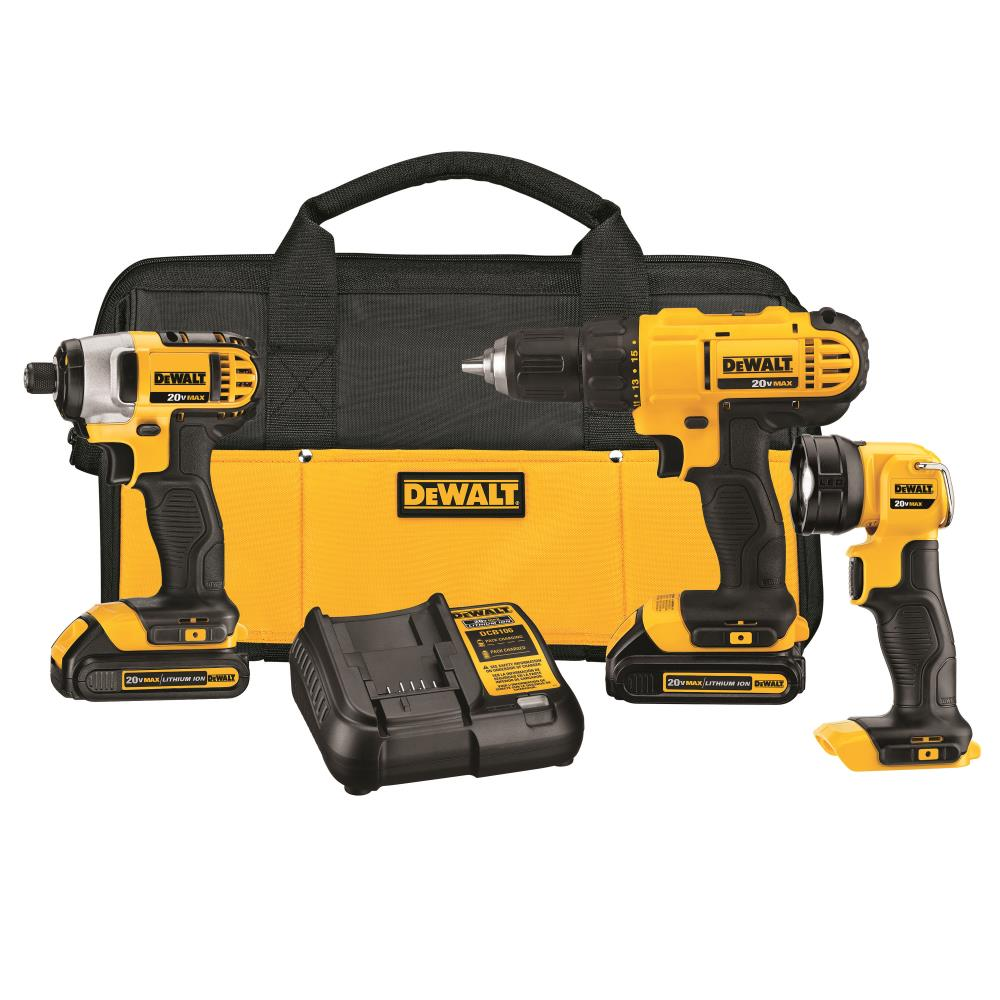DEWALT 3-Tool 20-Volt Max Power Tool Combo Kit with Soft Case (Charger Included and 2-Batteries Included) | DCK340C2