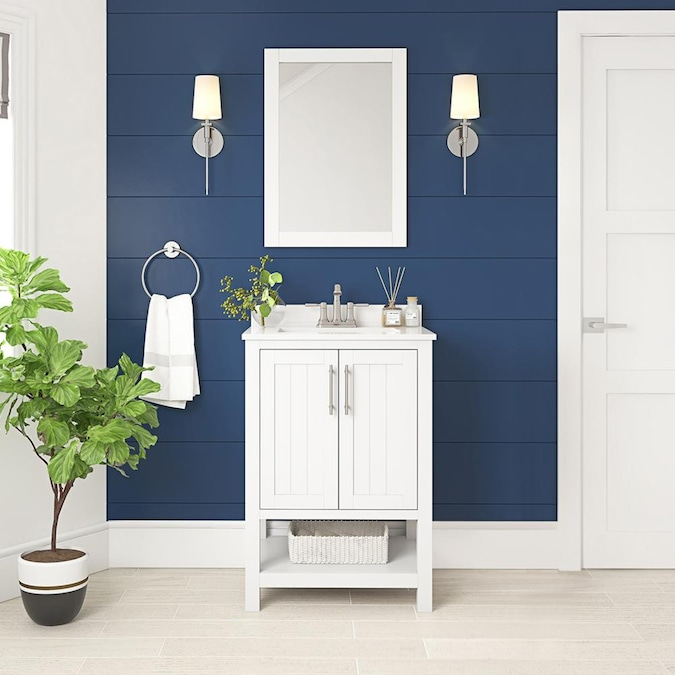 Style Selections Mercer 24 In White Undermount Single Sink Bathroom Vanity With White Engineered Stone Top Mirror Included In The Bathroom Vanities With Tops Department At Lowes Com