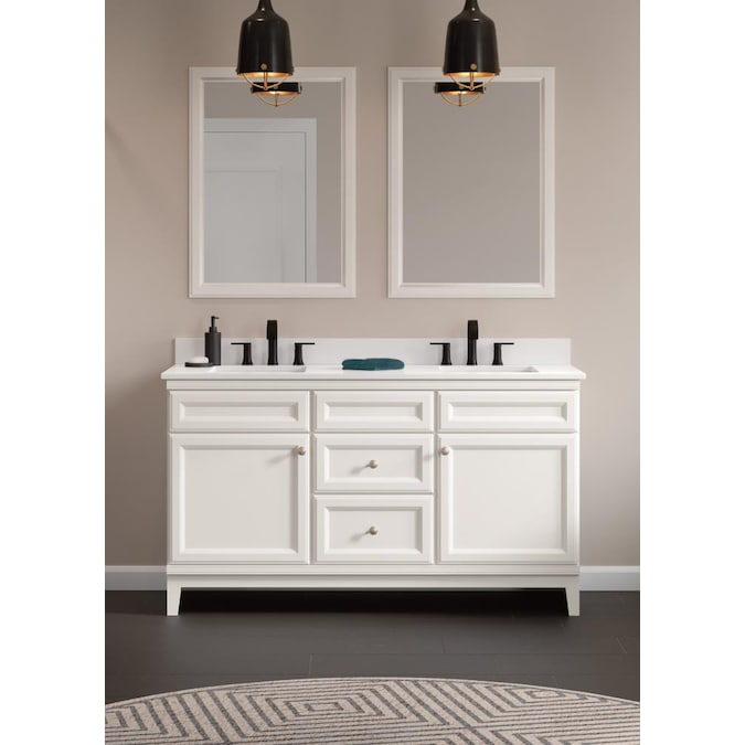Diamond Now Calhoun 61 In White Undermount Double Sink Bathroom Vanity With White Engineered Stone Top In The Bathroom Vanities With Tops Department At Lowes Com