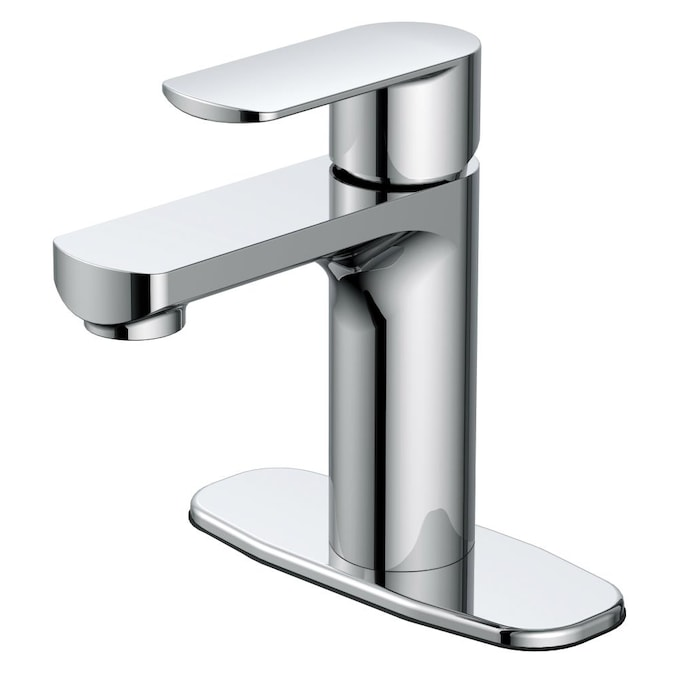 Allen Roth Kameron Chrome 1 Handle Single Hole Watersense Bathroom Sink Faucet With Drain And Deck Plate In The Bathroom Sink Faucets Department At Lowes Com