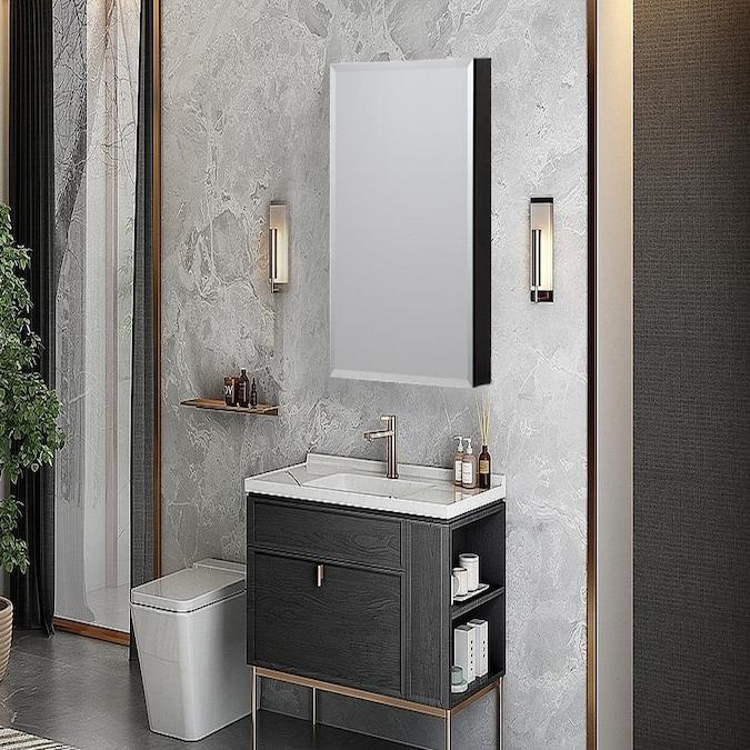 Taimei Medicine Cabinet Mmc1536, Black Mirrored Bathroom Cabinet