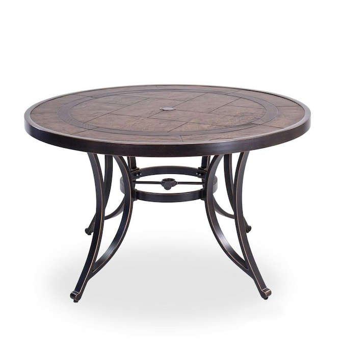 Casainc Patio Table Round Outdoor, Round Picnic Table With Umbrella Hole