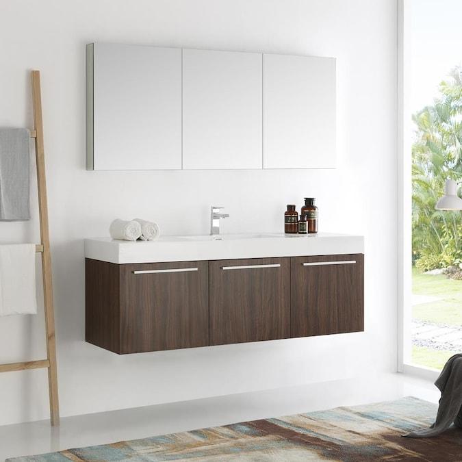 Walnut Single Sink Bathroom Vanity, 59 Bathroom Vanity Single Sink