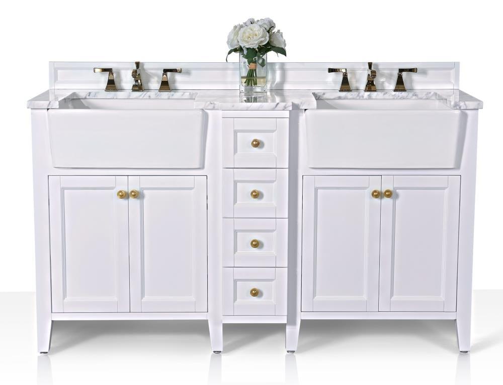 Ancerre Designs Adeline 60 In White, Double Bathroom Sink
