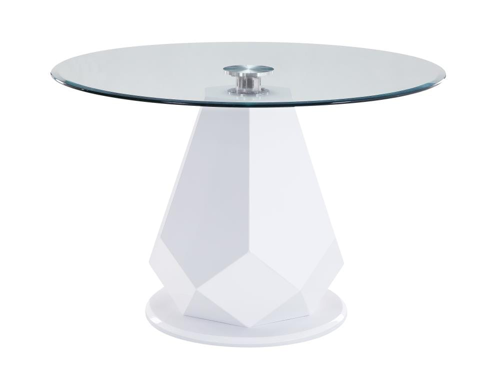 Round Dining Table Glass Top With Wood, Round Glass Dining Table With Pedestal Base