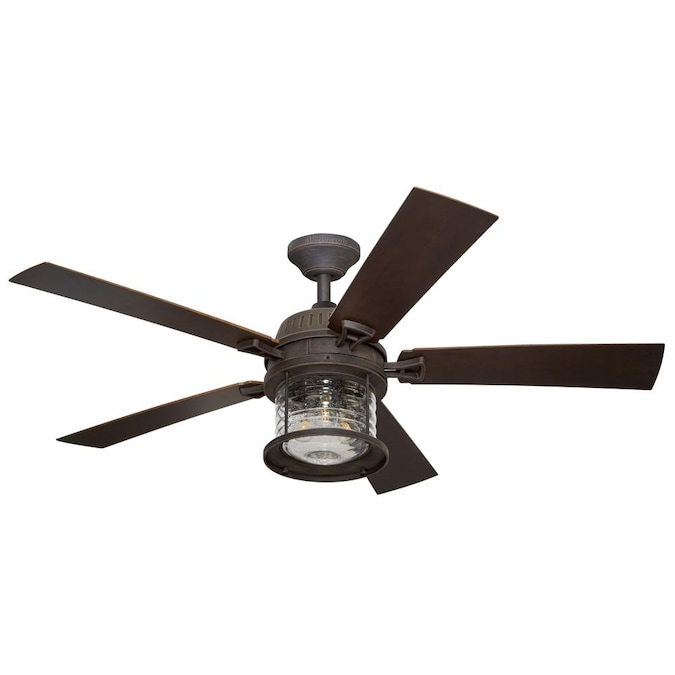 Allen Roth Stonecroft 52 In Rust Led Indoor Outdoor Ceiling Fan With Remote 5 Blade In The Ceiling Fans Department At Lowes Com