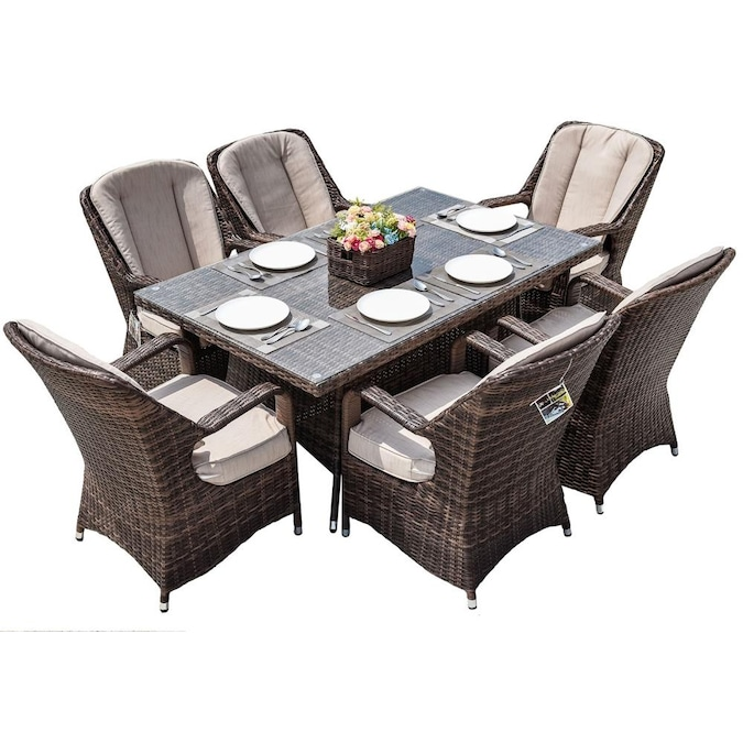 Direct Wicker Waverly 7 Piece Brown, All Weather Wicker Patio Dining Sets