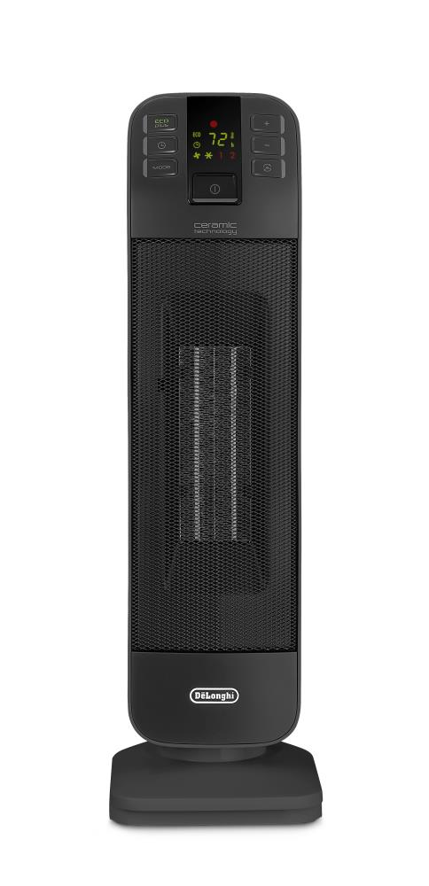DeLonghi 1500-Watt Ceramic Tower Electric Space Heater with Remote Included in Black   HFX65V15L