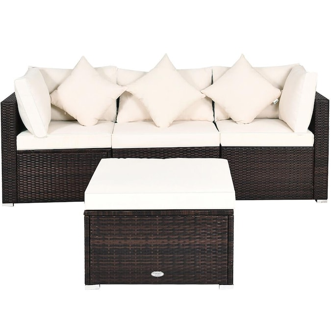 Goplus Costway Rattan Outdoor Sofa With, Burruss Patio Sectional With Cushions Canada