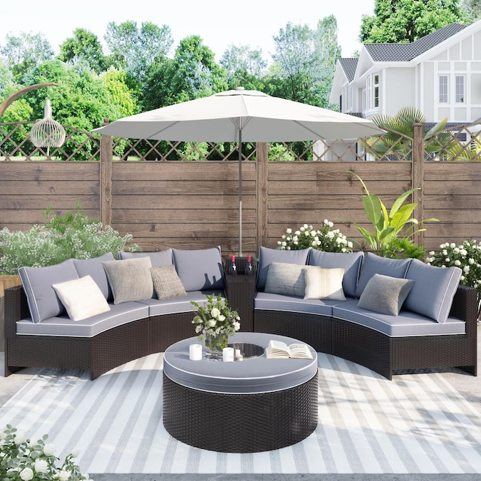 Clihome 6 Pieces Outdoor Sectional Half, Round Outdoor Sectional