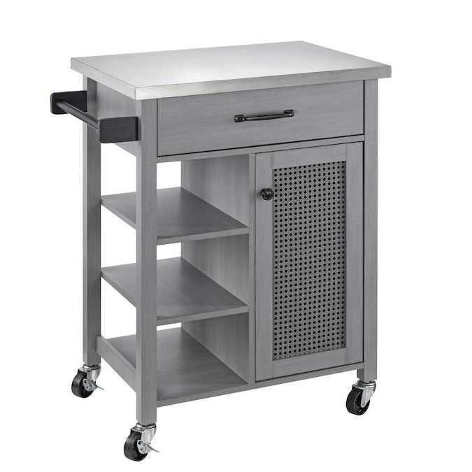 Festivo 26 In Gray Kitchen Cart In The Kitchen Islands Carts Department At Lowes Com
