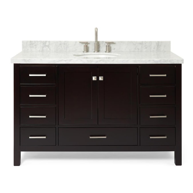 Single Sink Bathroom Vanity With White, Espresso Vanity Set With Lights