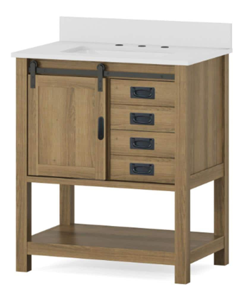 Style Selections 30 In Brown Undermount Single Sink Bathroom Vanity With White Engineered Stone Top In The Bathroom Vanities With Tops Department At Lowes Com