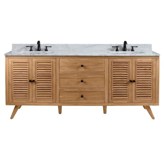 Double Sink Bathroom Vanity With, Natural Wood Bathroom Vanity
