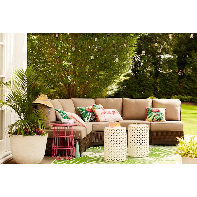 Allen Roth Altadena Wicker Brown, Burruss Patio Sectional With Cushions Canada