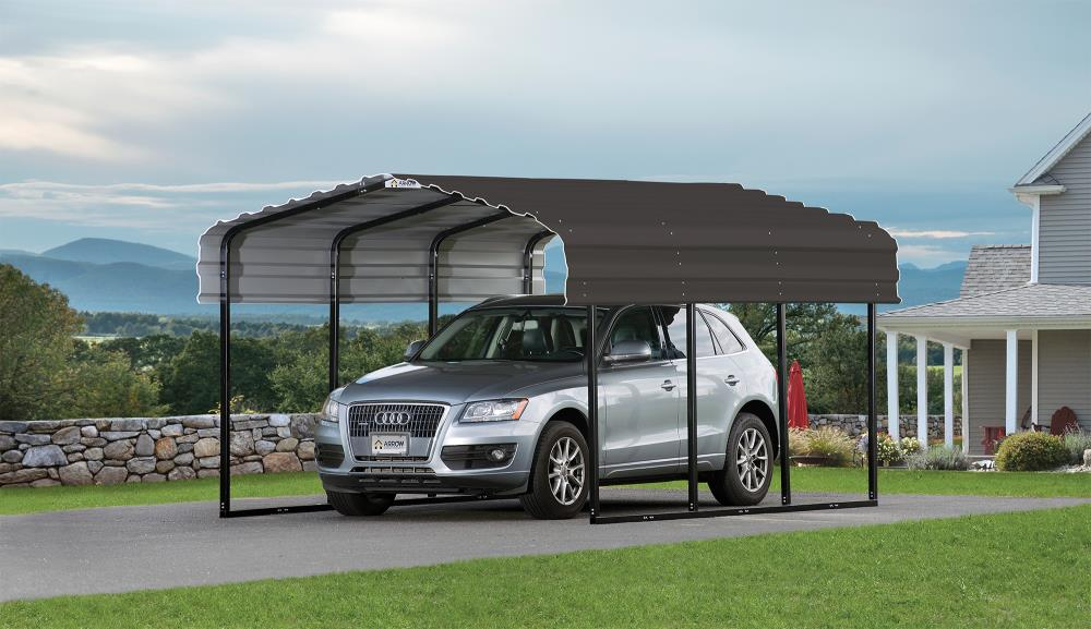 Arrow 10 Ft X 15 27 Ft Charcoal Metal Carport In The Carports Department At Lowes Com