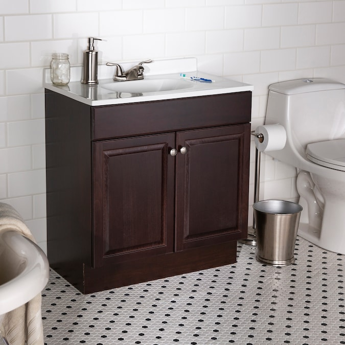 Project Source 30 In Java Brown Single Sink Bathroom Vanity With White Cultured Marble Top In The Bathroom Vanities With Tops Department At Lowes Com